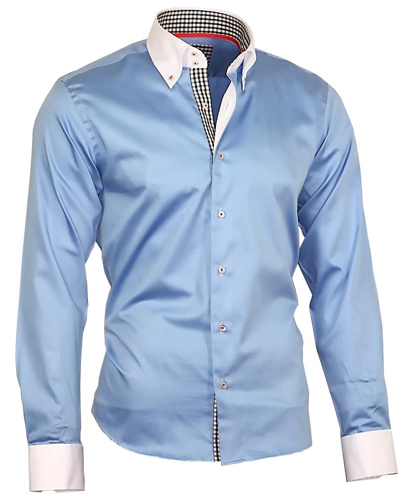 Herrenhemd Herren Hemd Satin Baumwolle Binder de Luxe hellblau 80801 ... 30bf4f59a1