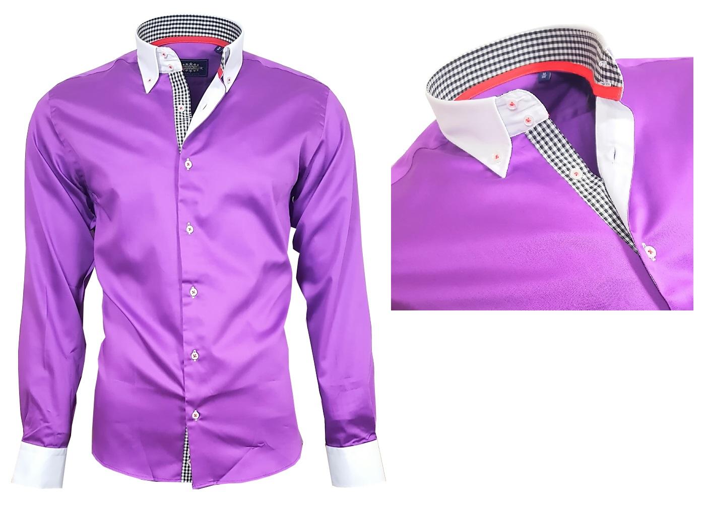 Herrenhemd Herren Hemd Satin Baumwolle Binder de Luxe 80807 Lila M ... e1af0a8cc1