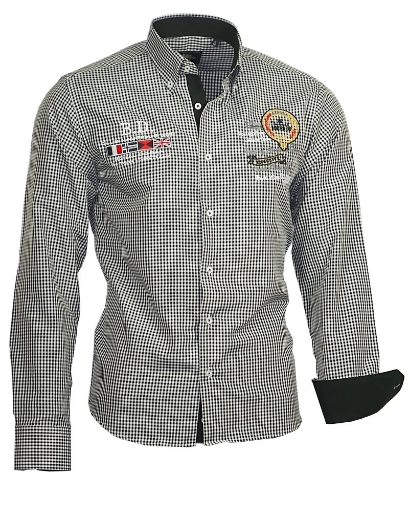 herren hemd herrenhemd hemden shirt bestickt stickerei binder de luxe 805 ebay. Black Bedroom Furniture Sets. Home Design Ideas