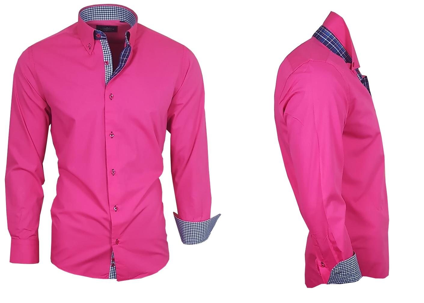 Camisa-para-hombre-camisa-manga-larga-camisa-Ober-camisa-viga-reticulada-de-Luxe-magenta-rosa-82310